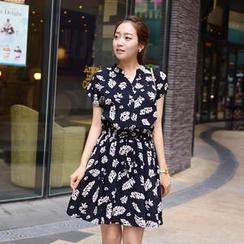 CLICK - 印花開襟連衣裙