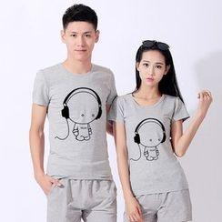 Matcha House - Couple Matching Cartoon Print Short-Sleeve T-Shirt / Shorts