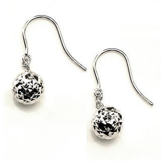 MaBelle - 14K White Gold Disco Ball Diamond Cut French Wire Earrings