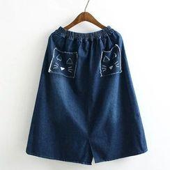 Suzette - Cat Embroidered Pocket Denim Skirt