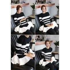BBORAM - Ruffle-Hem Striped Tunic Sweater