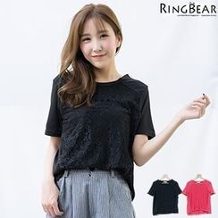 RingBear - Lace Panel Short Sleeve Tee