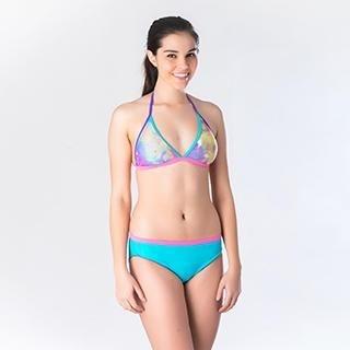NEWS - Printed fix tri bikini with contrast color pant