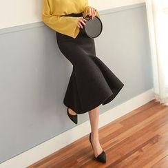 PPGIRL - Ruffle-Hem Neoprene Skirt