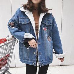 Dute - Patched Fleece Lined Oversized Denim Jacket