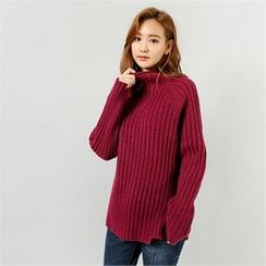 Styleberry - Mock-Neck Ribbed Knit Top