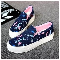 EUNICE - 塗鴉帆布鞋懶人鞋厚底休閑鞋