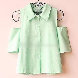 Munai - Cutaway-Sleeve Cropped Shirt