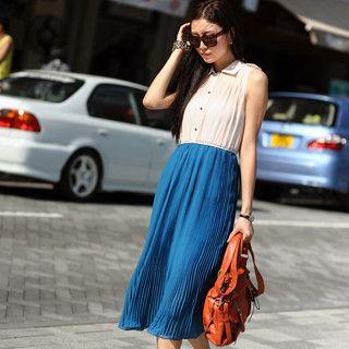 59 Seconds - Mock Two-piece Chiffon Midi Dress