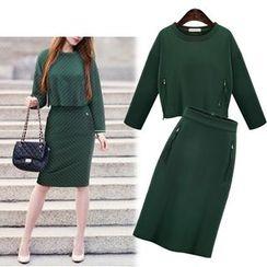 Cherry Dress - Set: Zip Detail Sweatshirt + Pencil Skirt