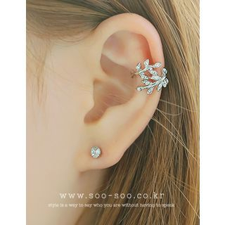 soo n soo - Rhinestone Leaf Ear Cuff