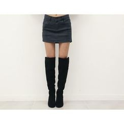 DANI LOVE - Cotton Distressed Miniskirt