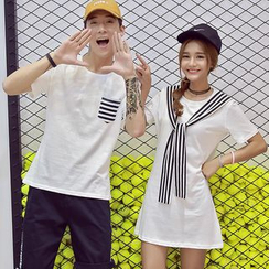 Azure - Couple Matching Striped T-Shirt / T-Shirt Dress