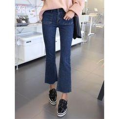hellopeco - Dual-Pocket Boots-Cut Jeans