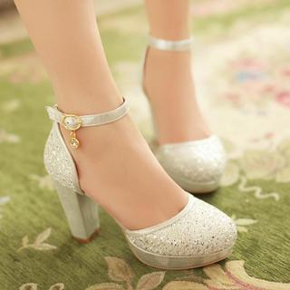 77Queen - Rhinestone Ankle-Strap Platform Pumps