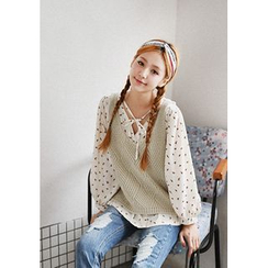 GOROKE - U-Neck Sleeveless Knit Top
