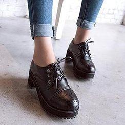 Mancienne - Platform Cutout Ankle Boots