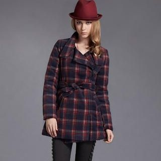 Moonbasa - Plaid Tweed Coat with Sash