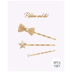 Miss21 Korea - Set of 3: Bow Star Hair Pin