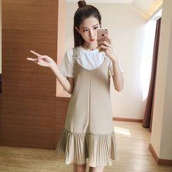 Ashlee - 套裝: 短袖T恤 + 無袖打褶襉連衣裙