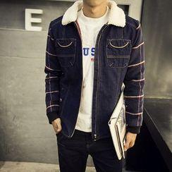 LC Homme - Fleece-Collar Check-Panel Zip Jacket