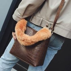 Youme - Faux Croc Grain Leather Crossbody Bag with Furry Handle