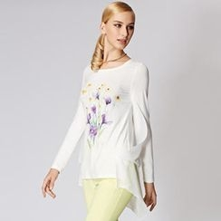 O.SA - Dip-Back Long-Sleeve Floral Top