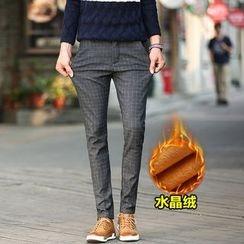 Harvin - Check Fleece Line Straight-Leg Pants