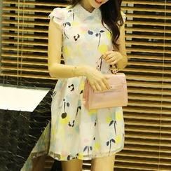 Rocho - 印花蓋袖飾領A字歐根紗連衣裙