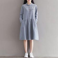 Epoch - Plain Long Sleeve Midi Shirtdress