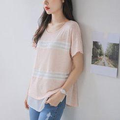 JUSTONE - Round-Neck Stripe Overlay T-Shirt