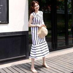 DEEPNY - Sleeveless Ruffle-Hem Striped Long Dress