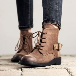MIAOLV - Buckled Lace Up Boots
