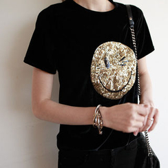 NIPONJJUYA - Sequined-Smile Velvet T-Shirt