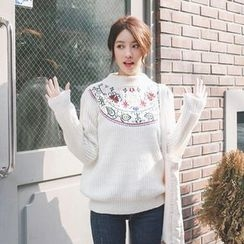 mimi&didi - Flower Embroidered Waffle-Knit Sweater