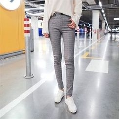 Styleberry - Band-Waist Check Skinny Pants