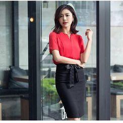 Aision - Chiffon Blouse / Pencil Skirt