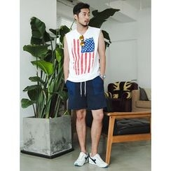 STYLEMAN - Sleeveless Star and Stripe Top