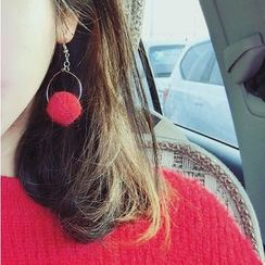 Ticoo - Pompom Drop Earrings