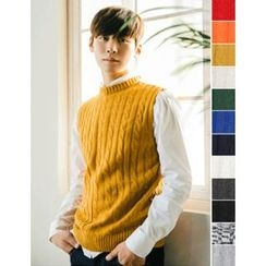 STYLEMAN - Sleeveless Cable-Knit Top