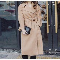 茜珞萊 - 純色大衣連飾帶