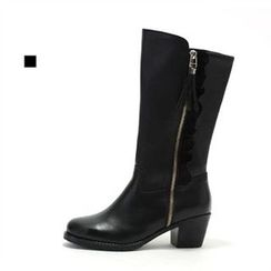 MODELSIS - Genuine Leather Zip Side Boots