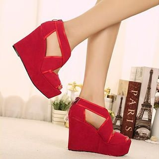Mancienne - Cross-Strap Wedge Sandals