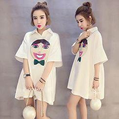 Rocho - Elbow-Sleeve Print Dress