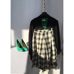 ssongbyssong - Checked A-Line Midi Skirt