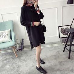 Qimi - 條紋邊針織連衣裙