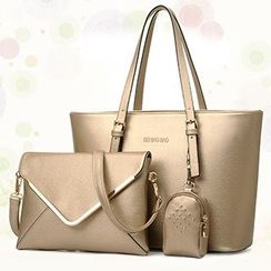 BeiBaoBao - Set: Faux-Leather Tote + Cross Bag + Pouch