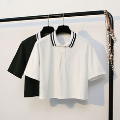 KANAMI - Short-Sleeve Cropped Polo Shirt