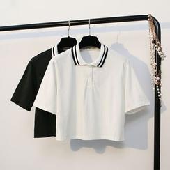 KANAMI - 短袖短款馬球衫