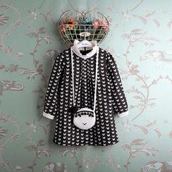 Kidora - 小童长袖猫猫印花皱摺边领连衣裙
